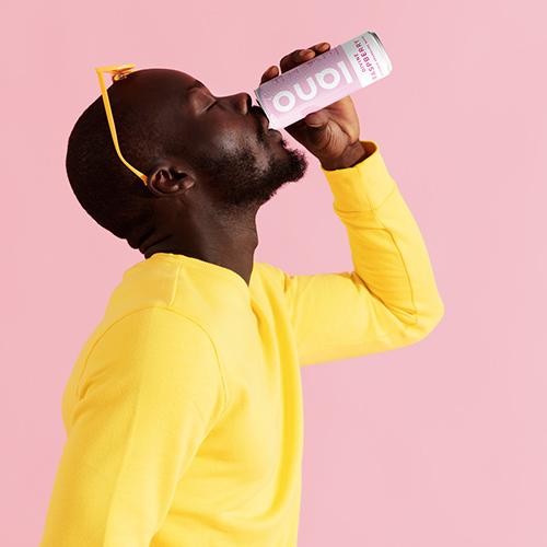 Men drinking pink lano